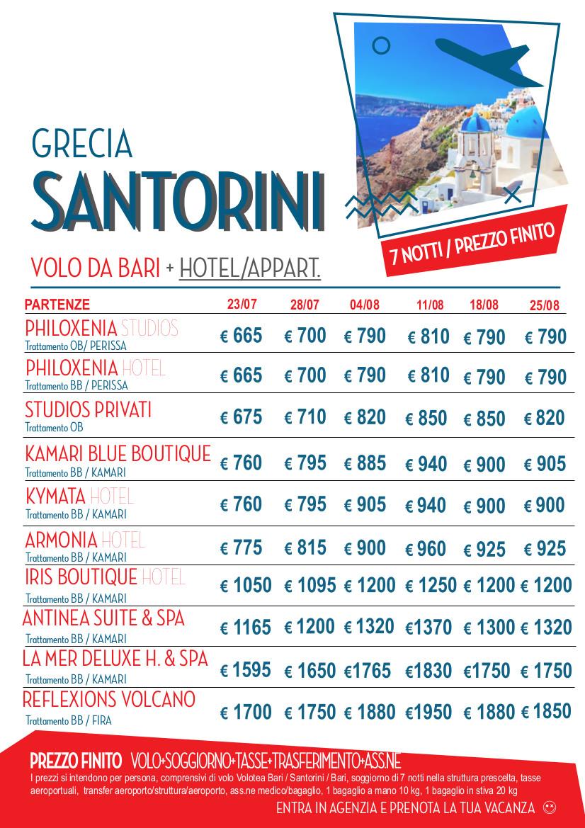 SANTORINI volo da Bari | Agenzia Viaggi Travelbook